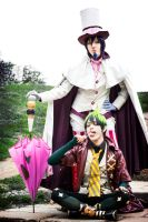 Amaimon and Mephisto Cosplay, in pose by hakucosplay