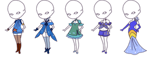 Ocean Themed Outfit Adopts - 30 Points (CLOSED) by StarlitMoth