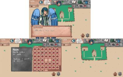 Dungeons and Harvest - Farm Screen Design by ChibiEdo