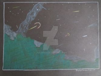 Meteor shower drawing by Justyn16