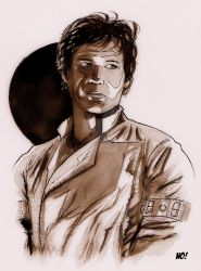 Han Solo ink wash by nathanobrien