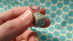 Minecraft Diamond Ore Block Necklace by BeppasCreations