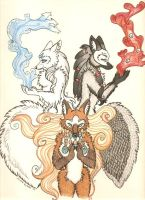 Elemental foxes by mysticfox