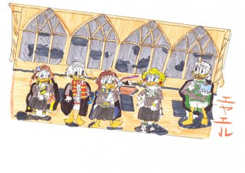 Ducks At Hogwarts Scene by Eyaelle