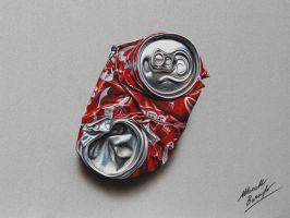 A crashed can of cola DRAWING by Marcello Barenghi by marcellobarenghi
