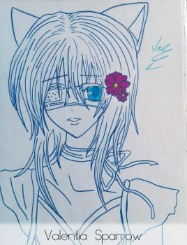 Old Drawing - Cat Girl by valentia-sparrow