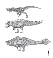 MH Fauna: Non-carnivorous Brute Wyverns by r-heinart