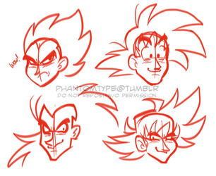 dbz head sketches by TheUltimateEnemy
