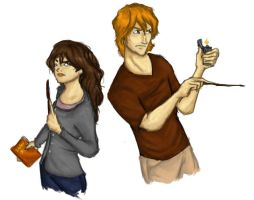 DH Ron and Hermione by MioneBookworm