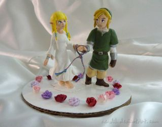 Zelda wedding cake toppers by Nendil