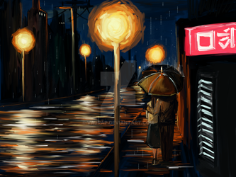 Romantic Rainy Night by Vajrap