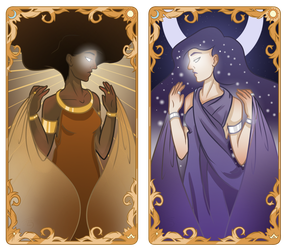 Tarot Card Designs: The Sun and The Moon by JETFPLOVE
