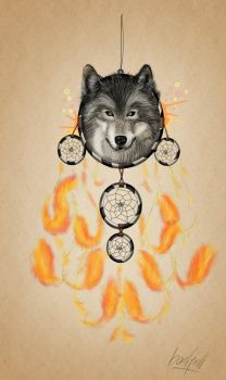dream catcher, wolf and phoenix by basgroll