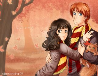 Ron + Hermione - Autumn by Aleccha