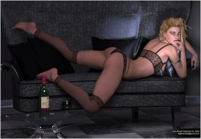 Sandra On The Black Couch by neanderdigital