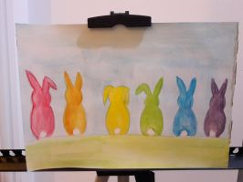 rainbow rabbits by TaitGallery