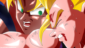 Goku Encouraging Gohan Colored by JamalC157