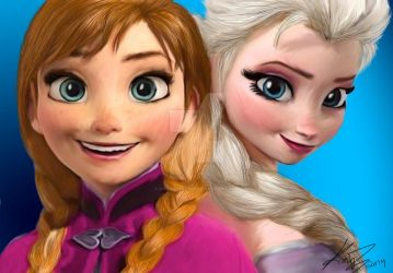 Anna and Elsa-Digital Painting by Firesphere306
