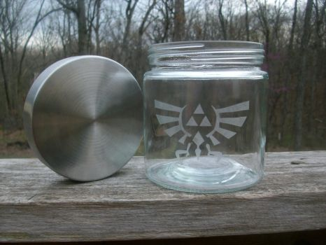 LoZ Royal-Hylian Crest Glass Jar W/Lid by ZombieBunnySlaya