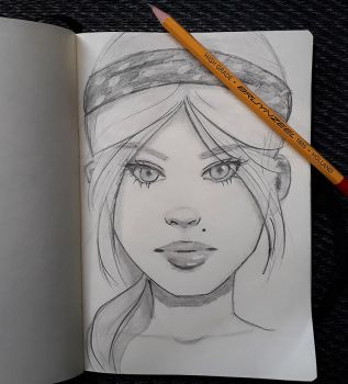 Sketch of female character by IamUman