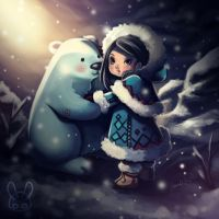 Little Eskimo and her polar bear by jennduong