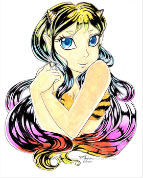 Lum invades my sketchbook! by Untraceablemystic