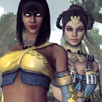 Tanya and Kitana by Bahlinka
