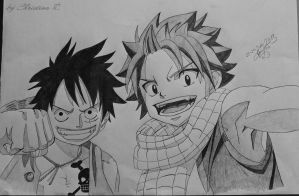Crossover Luffy and Natsu by M0nstac00kie