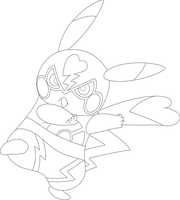 Lineart Of Pikachu Libre By InuKawaiiLover