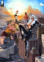 Attack of The 50 Foot Spider-Ladies by giantess-fan-comics