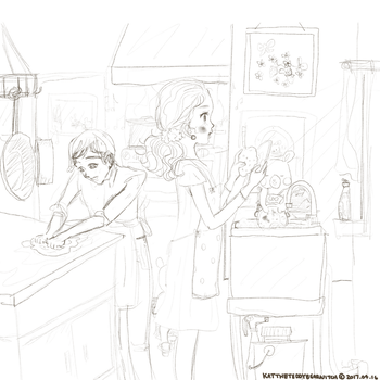 Busy Afternoon in the Restaurant Kitchen by TeddyBearWitch