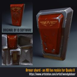 Quake II armor shard - before and after by Wayuki