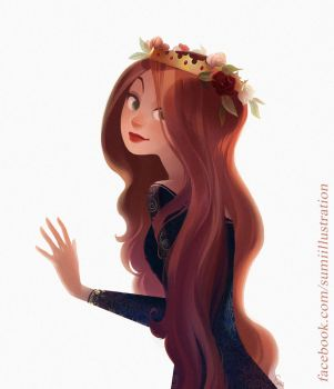 Red Hair and Roses by Blumina