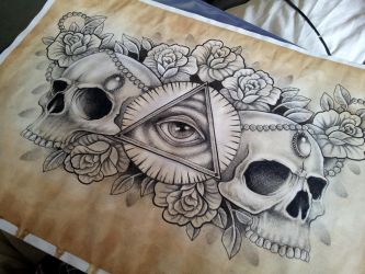 Illuminati and Skull chest piece tattoo design by kirstynoelledavies
