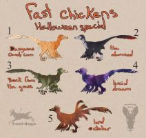 fast chickens Halloween special Adopt CLOSED by growling-deer
