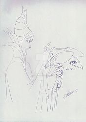 Maleficent and Diablo by satanspawn80