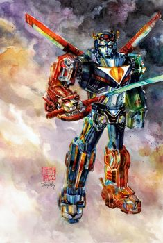 Voltron: Legendary Defender in Watercolor by dreamflux1