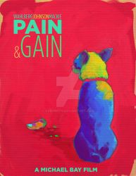 Pain and Gain - digital painting movie poster by vsRobots