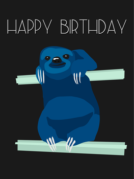 Vector Sloth Birthday Card by quixoticduck