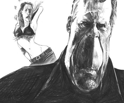 Bruce Willis and Jessica Alba by maritze