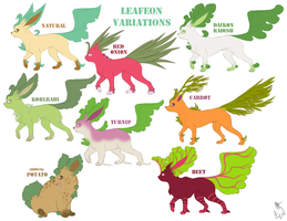 Leafeon variations by LucidJello