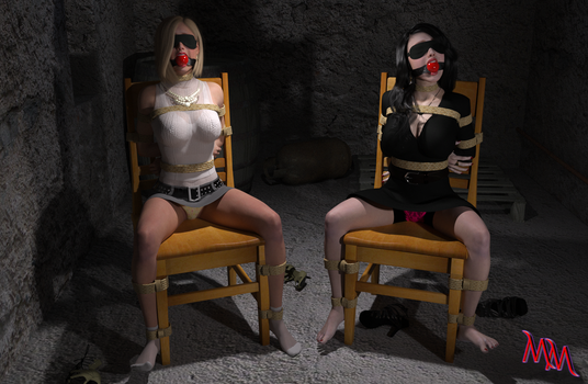 Commission - 2 Roped Girls (Max and Caroline) by MartyMartyr1