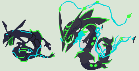 Nuclear Rayquaza + Mega Line Art by Rickthehedgewolf