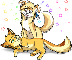 Fox and the Mutt by Aishyu