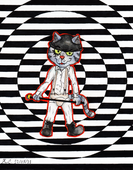 Fritz the Cat as a Droog from A Clockwork Orange by Spongefifi