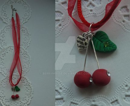 Neklace with cherries ~ polymer clay by BerryMouse
