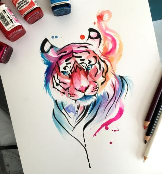 204- Watercolor Tiger Design by Lucky978