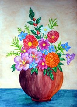Watercolor Flower Vase I by vendoritza