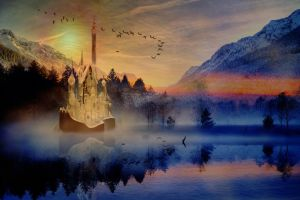 Magical Misty Morning Background by amethystmoonsong