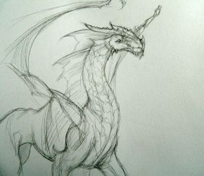 Dragon Sketch - 2012 by BunnyBrush